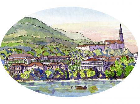 Vue du projet architectural alternatif des Trésums depuis le lac d'Annecy